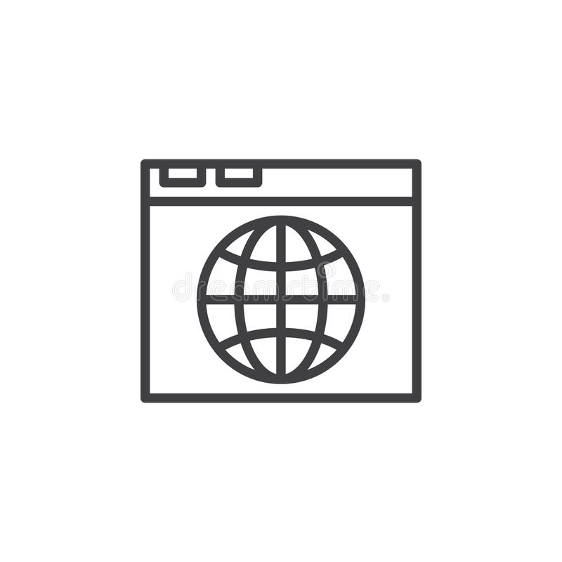 El navegador y el globo alinean el icono, muestra del vector del esquema, pictograma linear del estilo aislado en blanco libre illustration