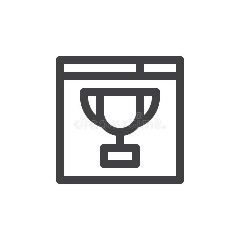 El navegador y el trofeo alinean el icono, muestra del vector del esquema, pictograma linear del estilo aislado en blanco stock de ilustración