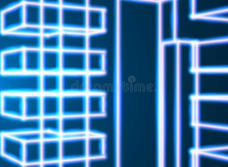 El neón brillante alinea el fondo abstracto con estilo retro de la informática 80s libre illustration