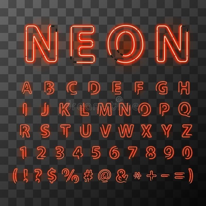 El neón rojo brillante pone letras a la fuente en fondo transparente stock de ilustración
