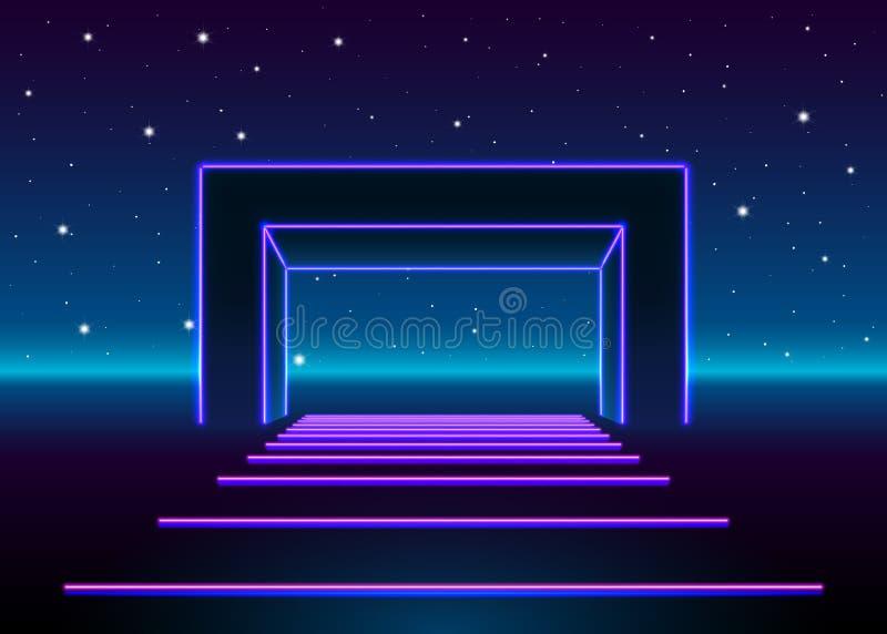 El neón 80s diseñó la puerta masiva en paisaje retro del juego con el camino brillante al futuro stock de ilustración