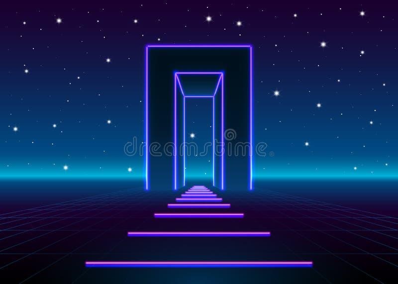 El neón 80s diseñó la puerta masiva en paisaje retro del juego con el camino brillante al futuro ilustración del vector