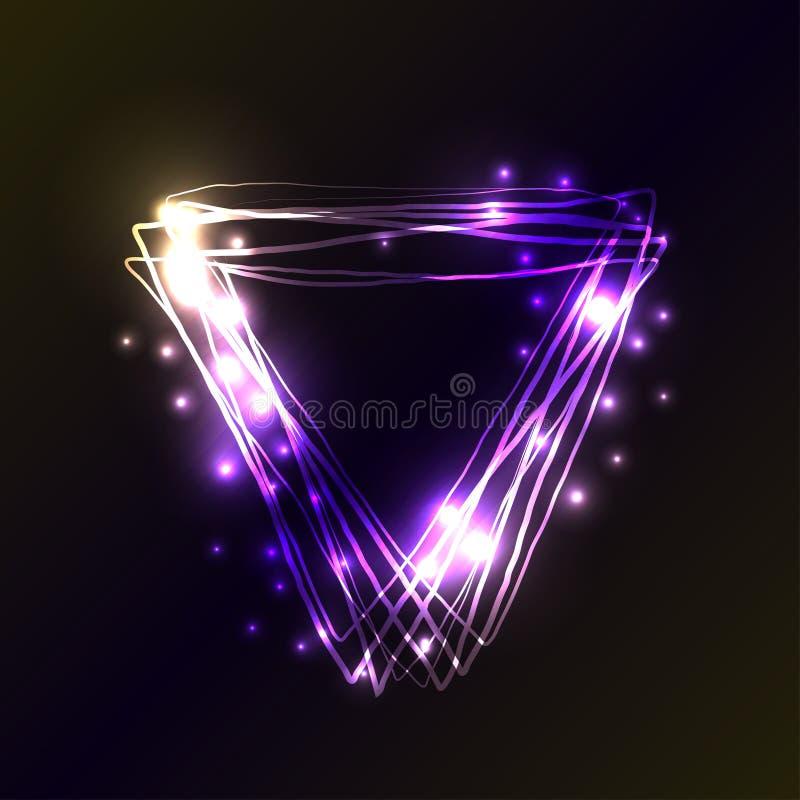 El neón violeta y azul colorea el fondo del triángulo Capítulo del triángulo con las luces y los efectos de los flashes Ejemplo d ilustración del vector