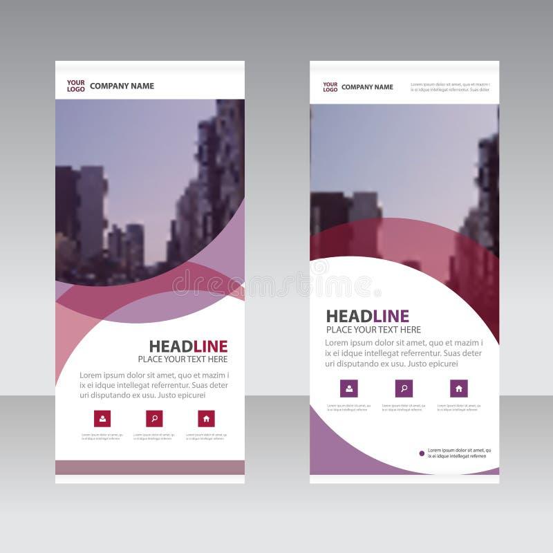 El negocio abstracto púrpura rueda para arriba la plantilla plana del diseño de la bandera, sistema geométrico del ejemplo del ve libre illustration