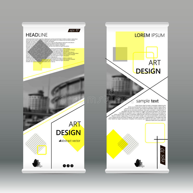 El negocio amarillo del extracto del triángulo rueda para arriba la plantilla plana del diseño de la bandera Sistema geométrico a ilustración del vector