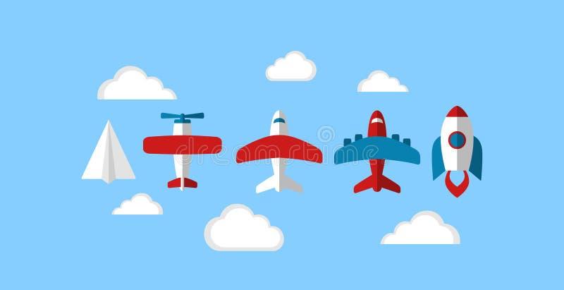 El negocio comienza encima del cohete de la nave espacial, de los iconos de papel del avión, del aeroplano y de la historieta del ilustración del vector