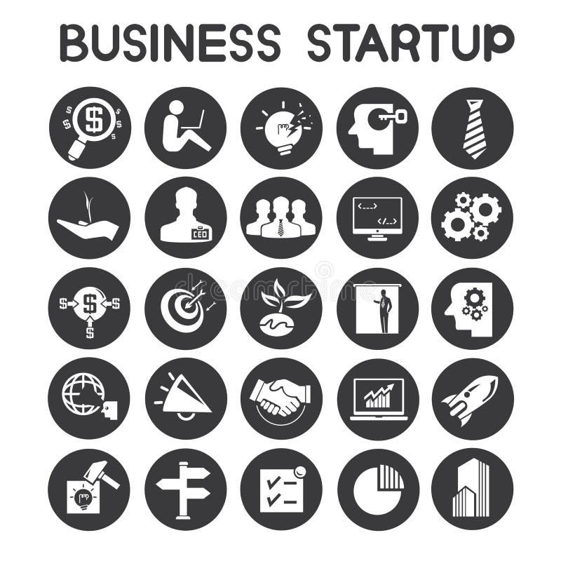 El negocio comienza para arriba iconos stock de ilustración