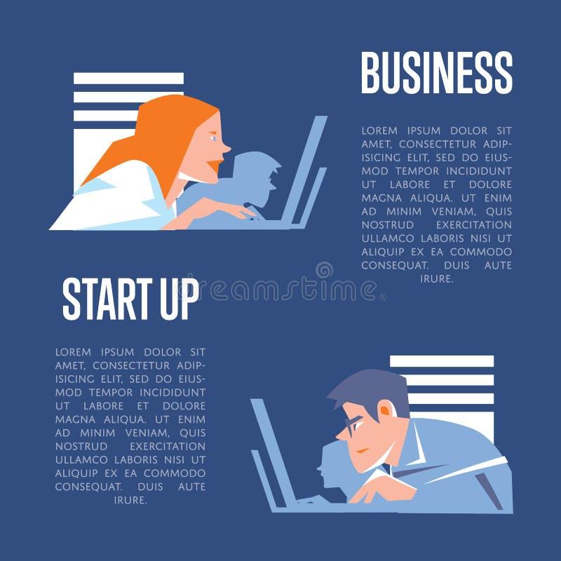 El negocio comienza para arriba la bandera con los empresarios stock de ilustración