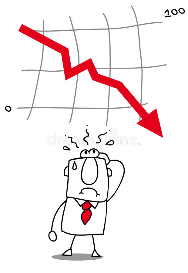 El negocio consigue abajo. ilustración del vector