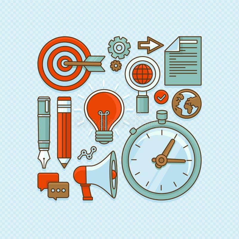 El negocio creativo del vector y comienza para arriba iconos stock de ilustración
