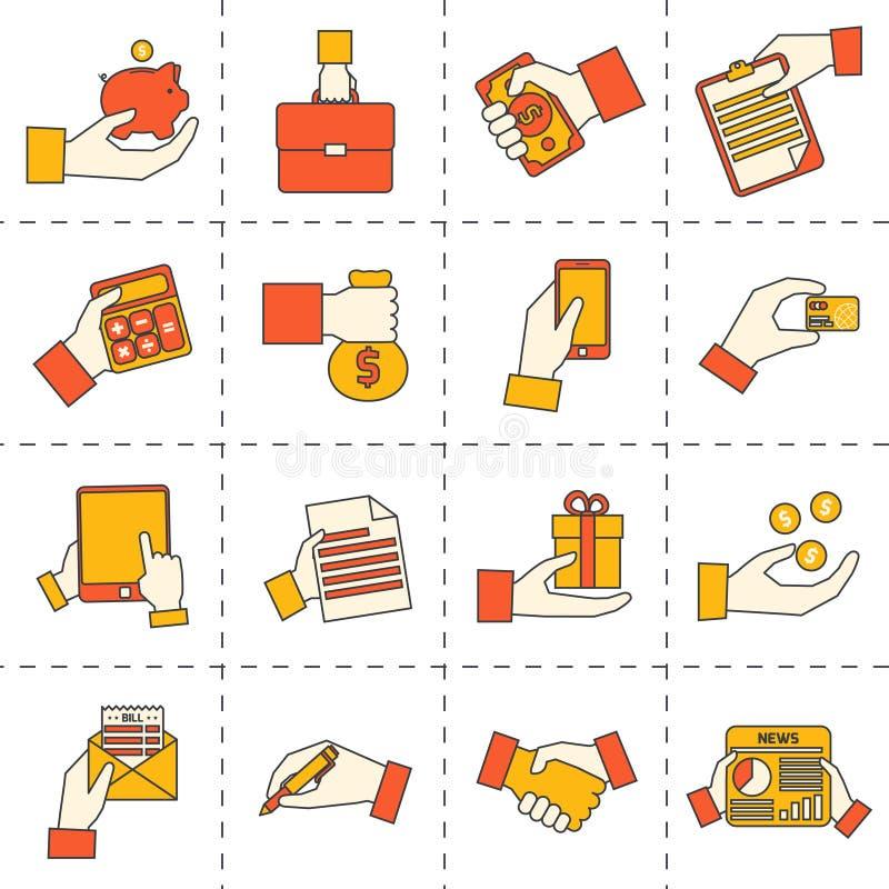 El negocio da iconos financieros ilustración del vector