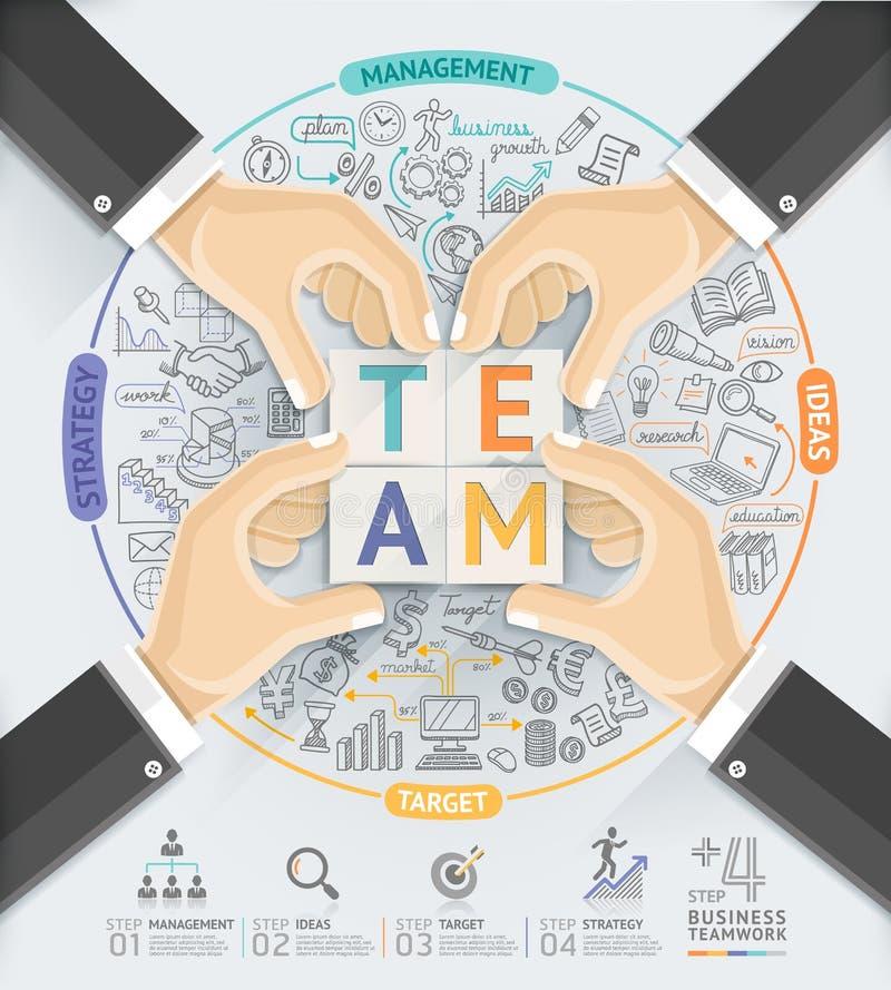 El negocio da la plantilla del infographics del trabajo en equipo ilustración del vector