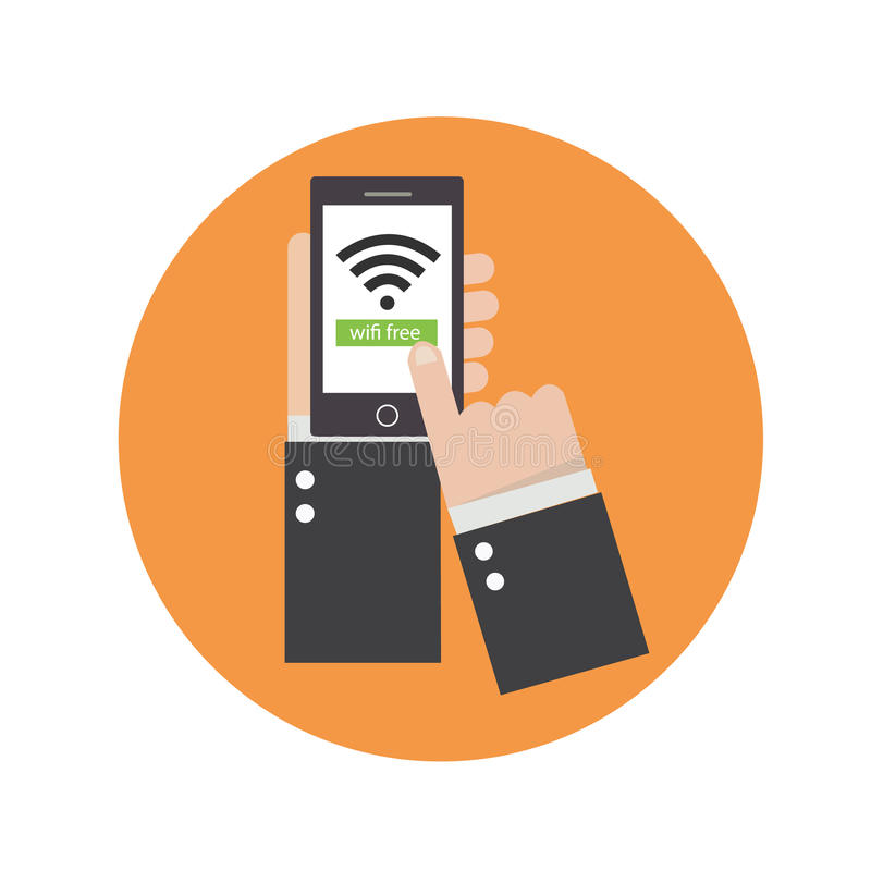 El negocio da sostener el teléfono con el icono del wifi en la pantalla stock de ilustración