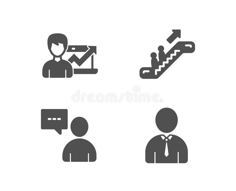 El negocio de la escalera móvil, del éxito y los usuarios charlan iconos Muestra humana Elevador, carta de crecimiento, concepto  libre illustration