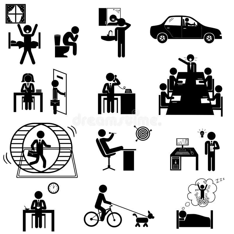 El negocio de la oficina pega iconos ilustración del vector