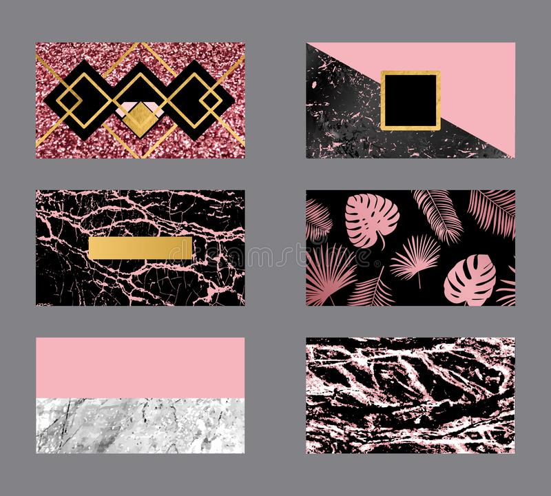 El negocio de lujo subió tarjeta del oro con la textura de mármol y la plantilla geométrica del línea y de oro del fondo del vect ilustración del vector