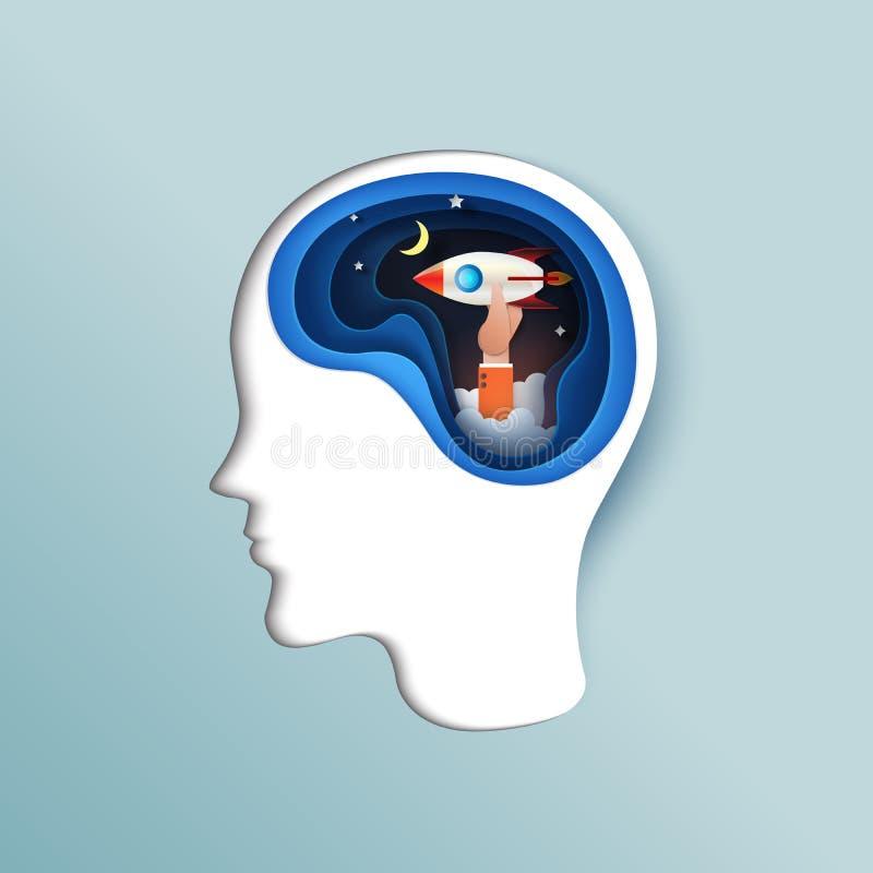 El negocio de pensamiento humano comienza para arriba concepto libre illustration