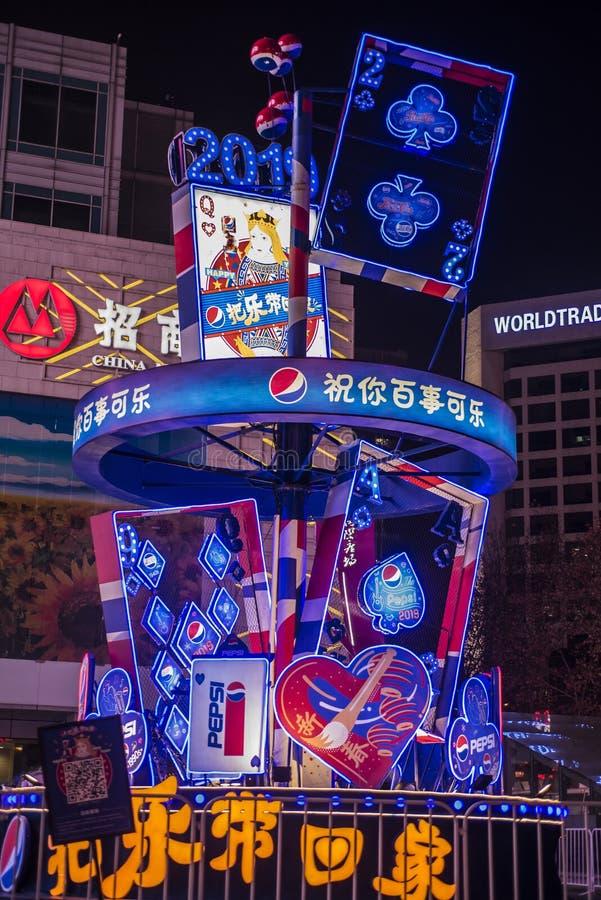 El negocio del Año Nuevo lanza el faro de la publicidad del póker en 2019 fotos de archivo libres de regalías