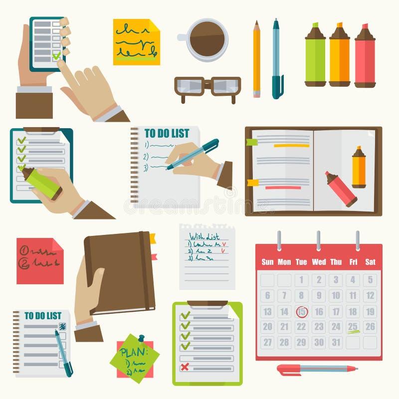 El negocio del orden del día de los cuadernos del vector observa la colección ilustración del vector