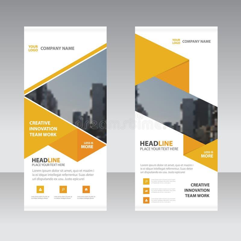 El negocio del tiangle del amarillo anaranjado rueda para arriba la plantilla plana del diseño de la bandera ilustración del vector