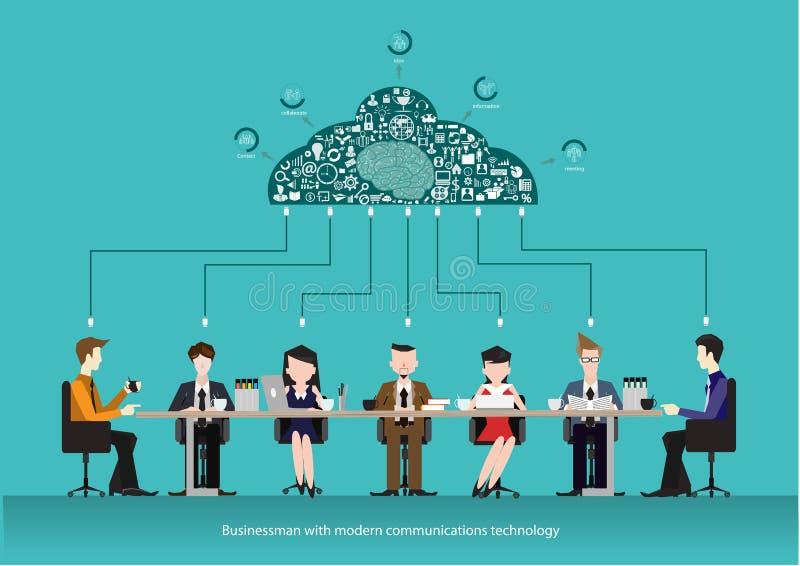 El negocio del vector combina iconos del negocio de las comunicaciones y de las conexiones Concepto del centro de funcionamiento  ilustración del vector