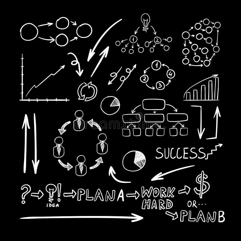 El negocio del vector garabatea dibujos fijados, blancos en fondo negro ilustración del vector