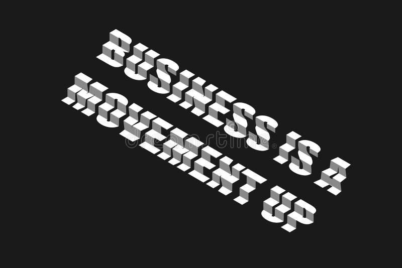 El negocio es movimiento Letras del diseño del paso r Vector Fondo gris oscuro ilustración del vector