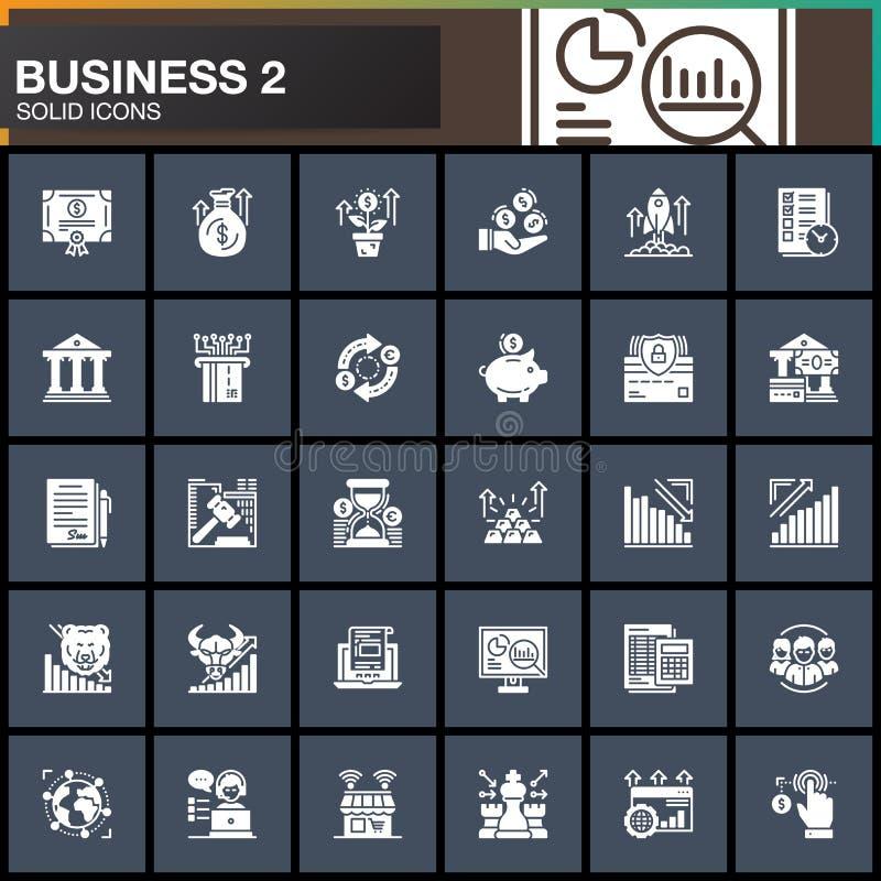 El negocio, finanzas, iconos del vector del dinero fijó, colección sólida moderna del símbolo ilustración del vector