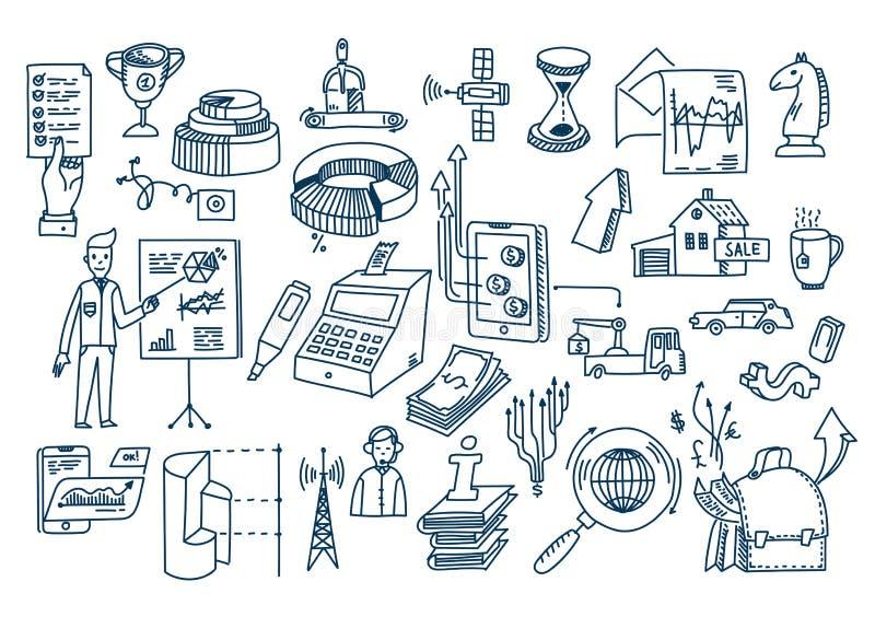 El negocio garabatea elementos y símbolos dibujados mano del vector stock de ilustración