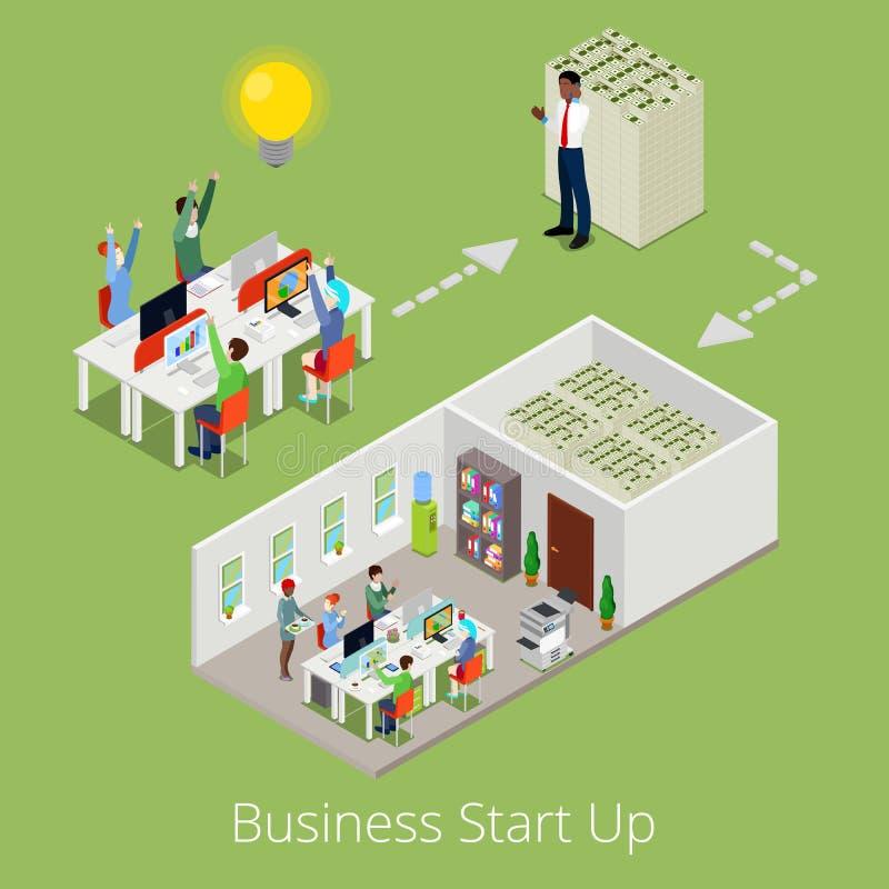 El negocio isométrico comienza para arriba al equipo creativo ilustración del vector