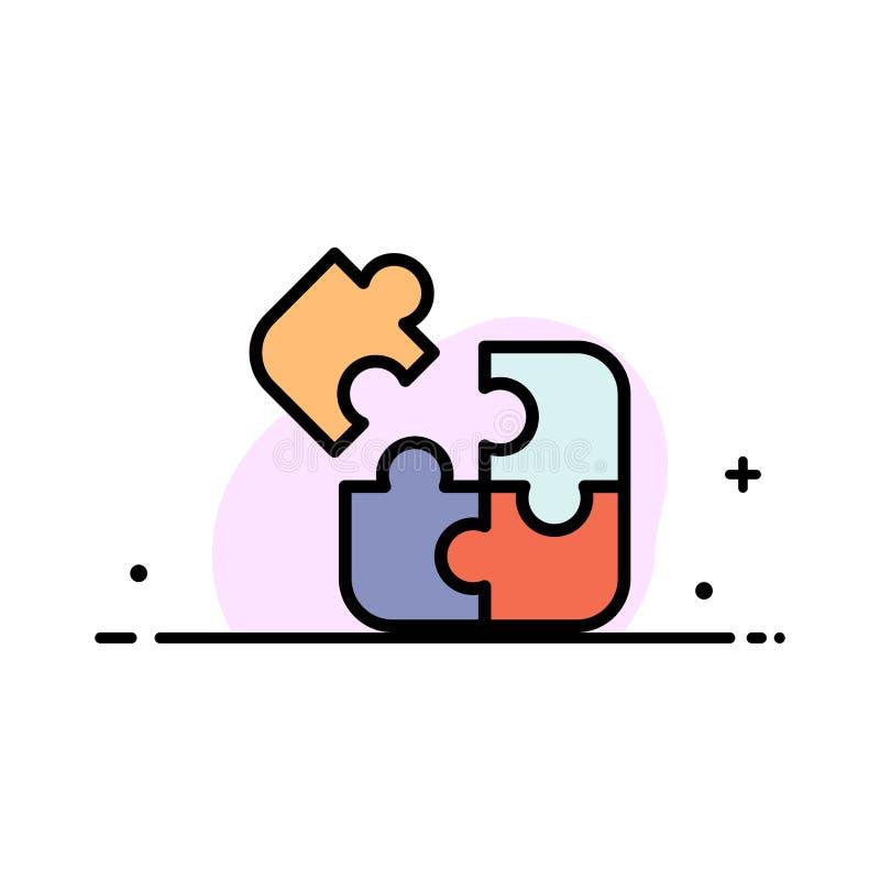 El negocio, juego, lógica, rompecabezas, línea plana del negocio cuadrado llenó la plantilla de la bandera del vector del icono ilustración del vector