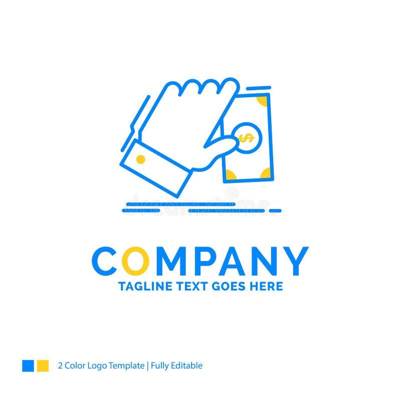el negocio, mano, dinero, gana, te amarillo azul del logotipo del negocio del dólar stock de ilustración