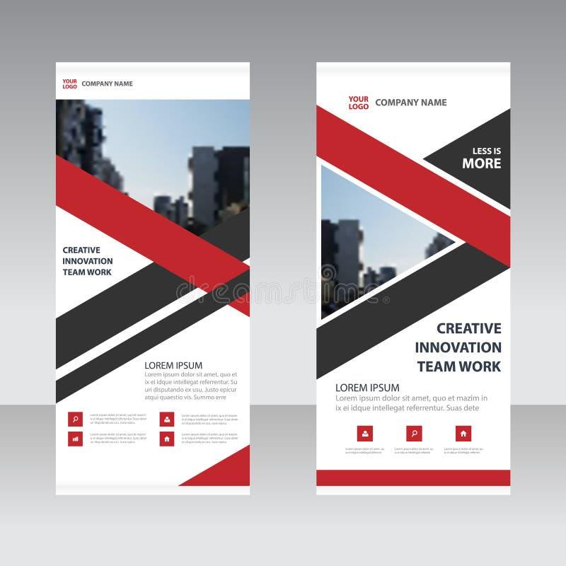 El negocio negro rojo de la etiqueta del triángulo rueda para arriba la plantilla plana del diseño de la bandera, vector geométri ilustración del vector
