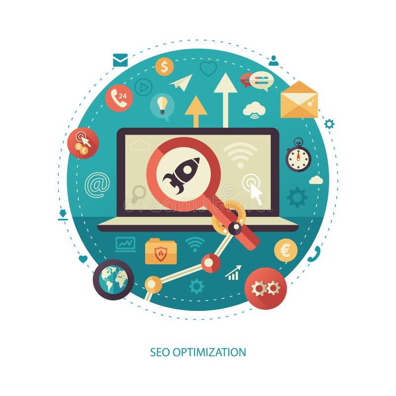 El negocio plano del diseño de la optimización de SEO, comienza para arriba el ejemplo del infographics libre illustration