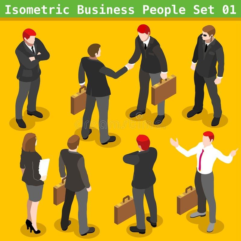 El negocio presenta a 01 personas isométricas stock de ilustración