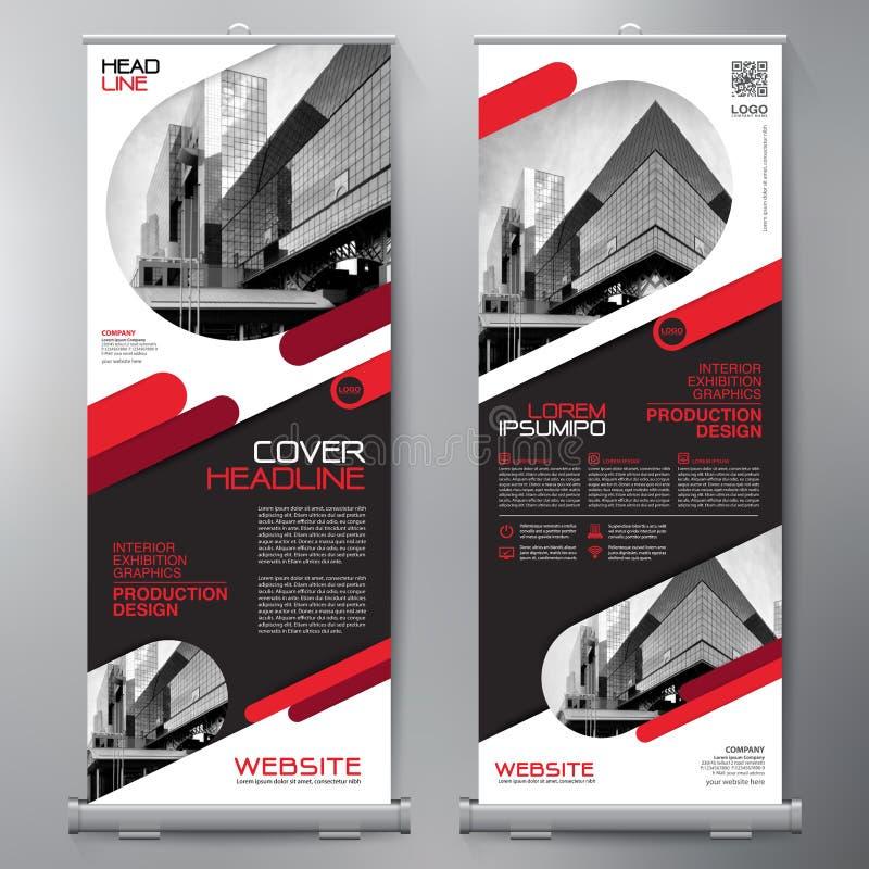 El negocio rueda para arriba Diseño del espectador de pie plantilla de la bandera presentación stock de ilustración