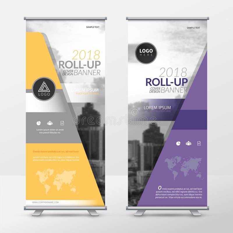 El negocio rueda para arriba la plantilla del diseño, X-soporte, disposición de diseño vertical de la bandera-bandera, el promove ilustración del vector