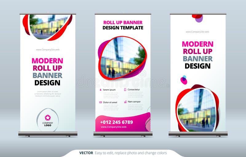 El negocio rueda para arriba el soporte de la bandera Concepto de la presentación Modernos abstractos ruedan para arriba el fondo libre illustration