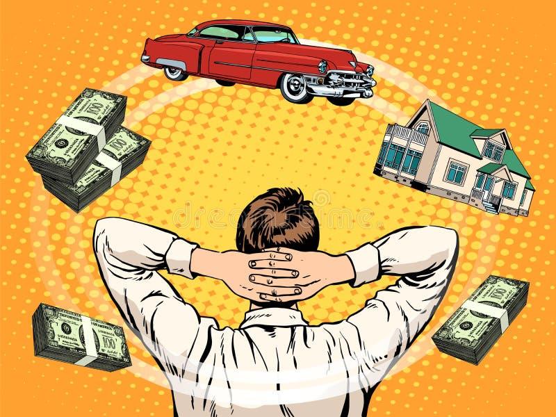 El negocio sueña el dinero casero de la renta del coche del comprador stock de ilustración