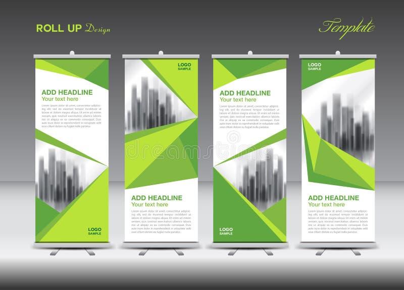 El negocio verde rueda para arriba la plantilla plana del diseño de la bandera, parte posterior del polígono ilustración del vector
