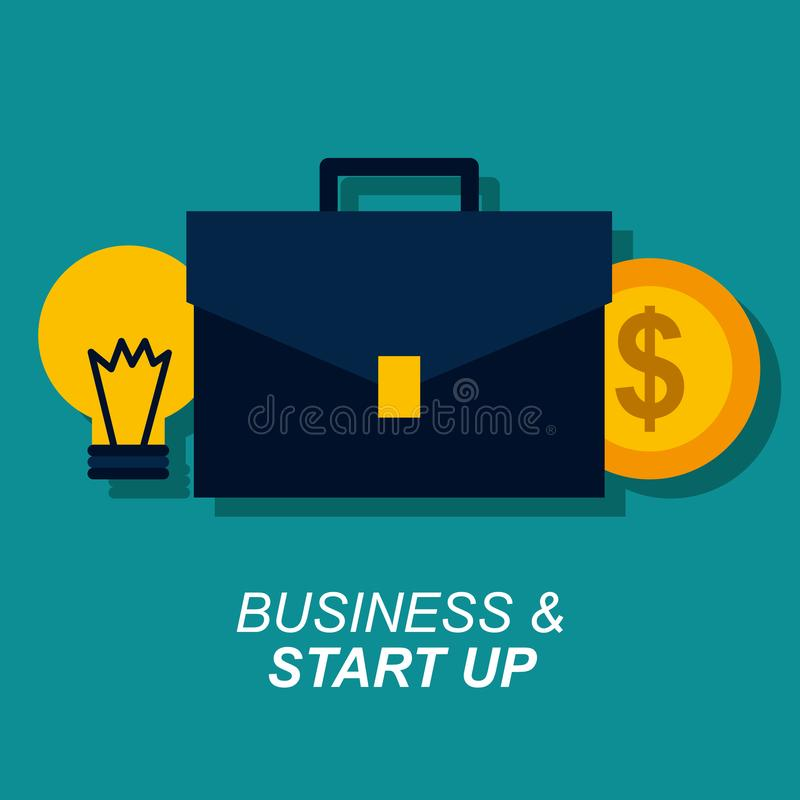 El negocio y comienza para arriba la maleta y el dinero de la moneda del bulbo stock de ilustración