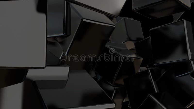 El negro abstracto cubica el fondo contexto digital fotografía de archivo libre de regalías