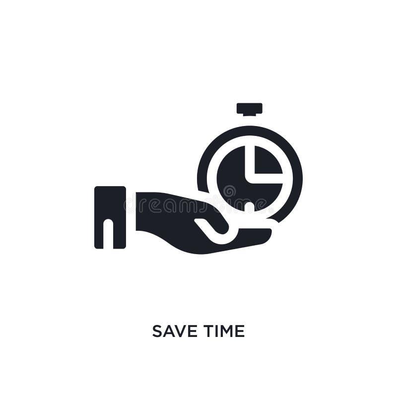 el negro ahorra el icono aislado tiempo del vector ejemplo simple del elemento de iconos del vector del concepto de la gestión de ilustración del vector