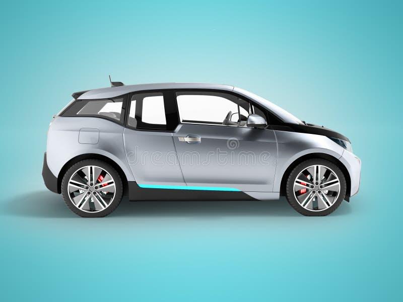 El negro azul 3d de la vista lateral del coche eléctrico rinde en el fondo azul w stock de ilustración