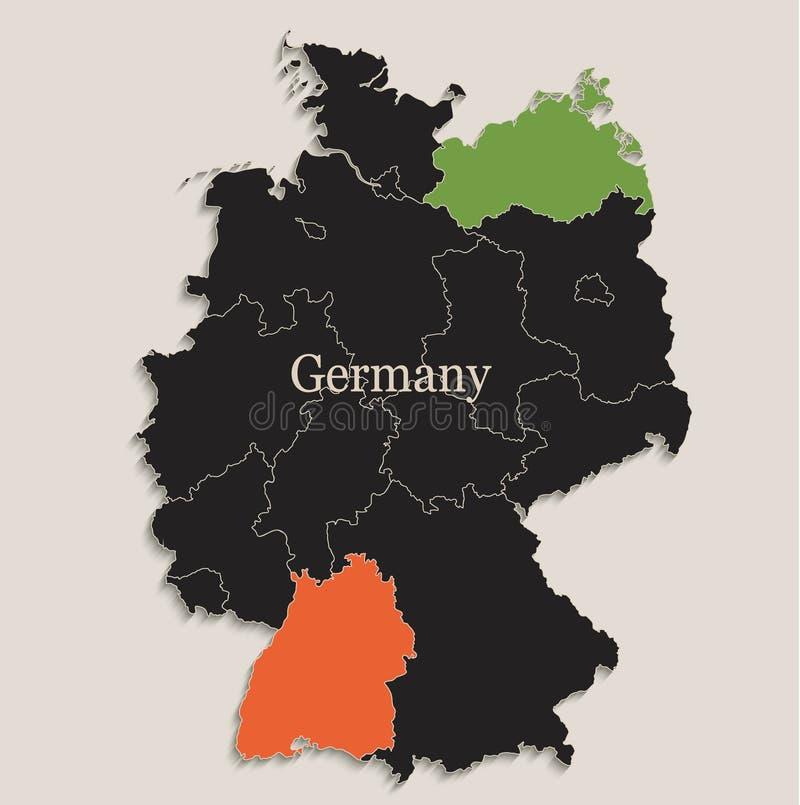 El negro del mapa de Alemania colorea estados separados de la pizarra individuales libre illustration