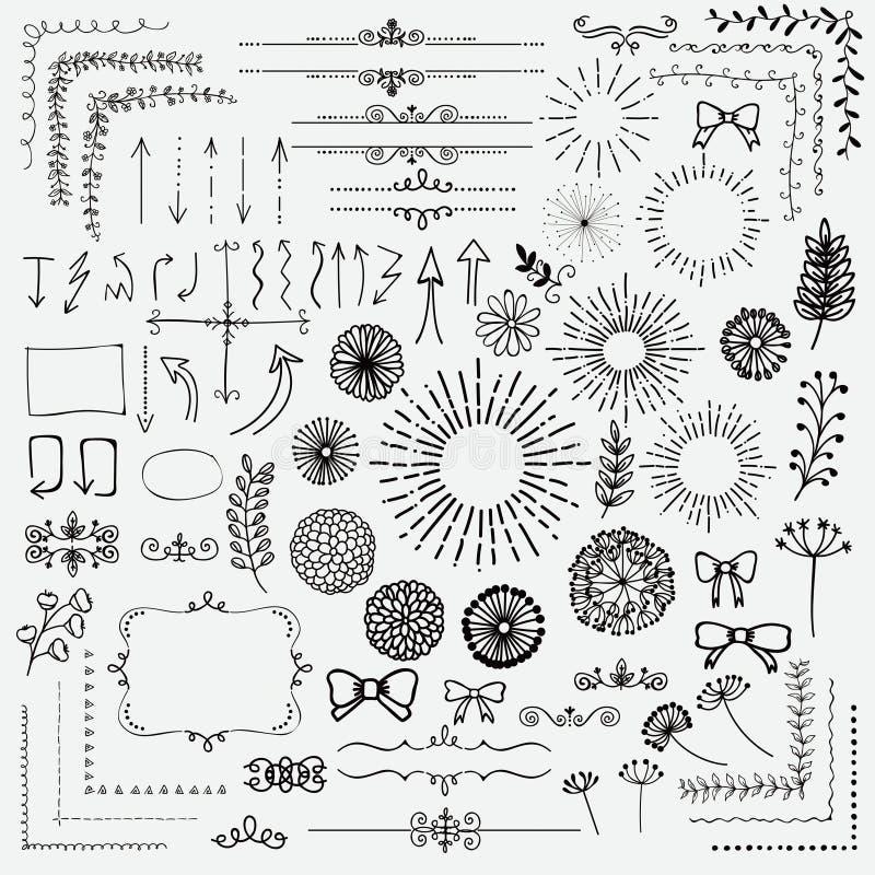 El negro del vector bosquejó elementos rústicos florales del diseño libre illustration