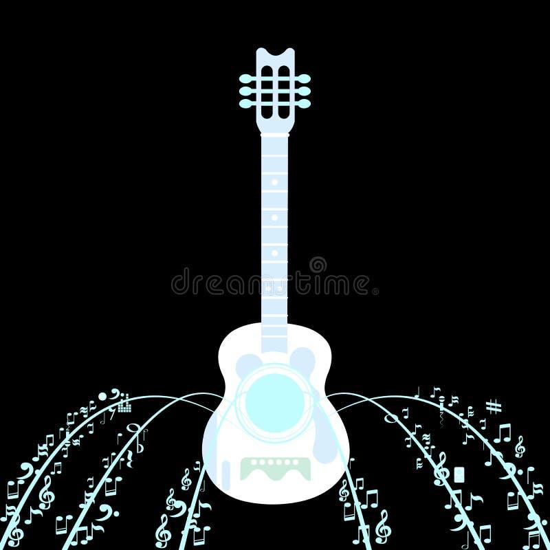 El negro está detrás guitarra ilustración del vector