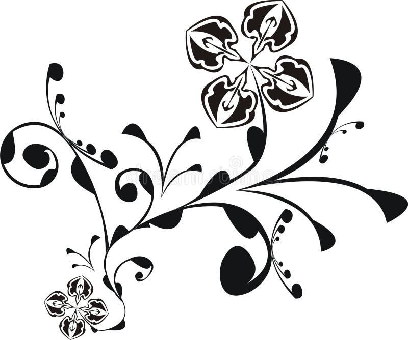 El negro florece fantasía ilustración del vector