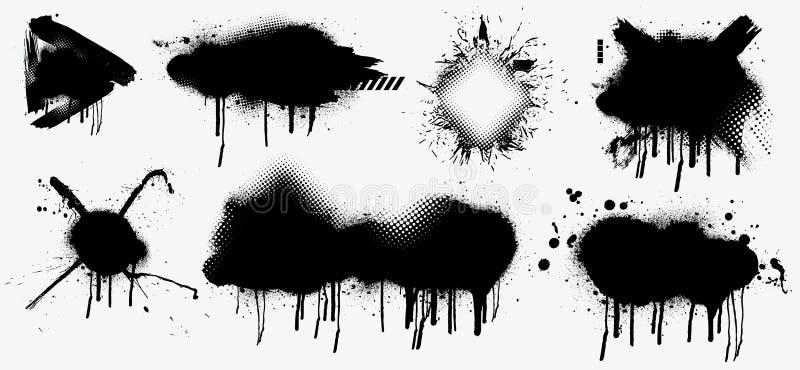 El negro salpica aislado en el fondo blanco Espray negro abstracto ilustración del vector