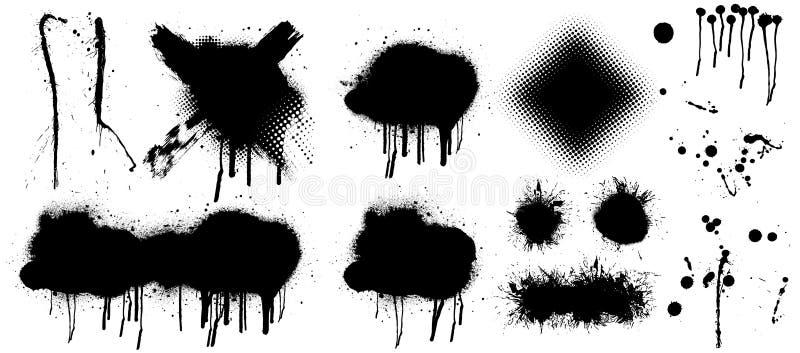 El negro salpica aislado en fondo transparente ilustración del vector